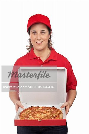 A pizza delivery woman holding a hot pizza. Isolated on white Stock Photo - Budget Royalty-Free, Image code: 400-05136416