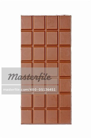 A chocolate bar isolated on white background Stock Photo - Budget Royalty-Free, Image code: 400-05136451