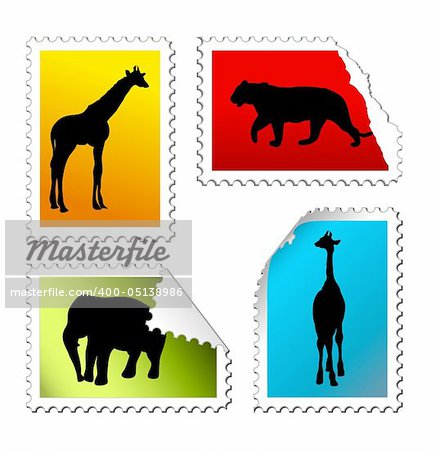 set of safari post stamps on a white background Stock Photo - Budget Royalty-Free, Image code: 400-05138986
