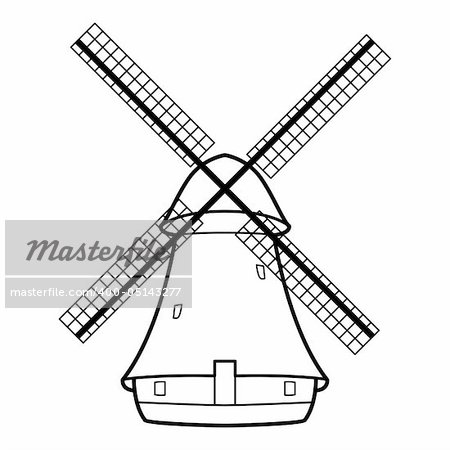 Vector illustration of the old windmill.