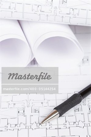 Construction plans and automatic pencil. Shallow depth of field Stock Photo - Budget Royalty-Free, Image code: 400-05144254
