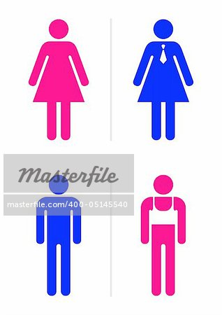 Joke toilet signs for gay bar. Vector. Stock Photo - Budget Royalty-Free, Image code: 400-05145540