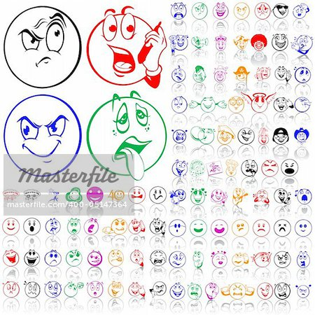 Set of smilies. Part 1. Isolated groups and layers. Global colors. Stock Photo - Budget Royalty-Free, Image code: 400-05147364