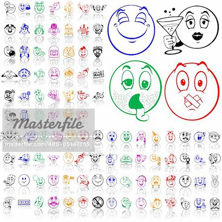 Set of smilies. Part 2. Isolated groups and layers. Global colors. Stock Photo - Budget Royalty-Free, Image code: 400-05147365