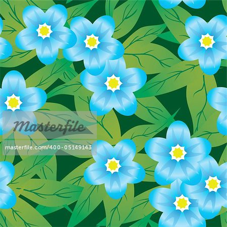 Abstract forget-me-nots flowers background. Seamless. Blue - green palette. Vector illustration. Stock Photo - Budget Royalty-Free, Image code: 400-05149143