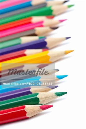 Assortment of coloured pencils with shadow on white background. Shallow depth of field Stock Photo - Budget Royalty-Free, Image code: 400-05153786
