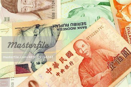 Currencies of Singapore, Taiwan, Korea, Brunei Darussalam and Indonesia. Stock Photo - Budget Royalty-Free, Image code: 400-05154243