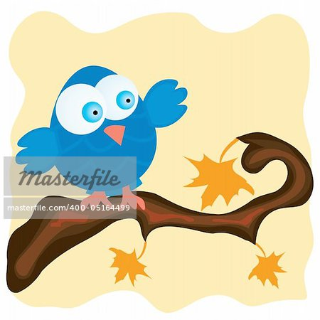 Blue bird on a branch with orange maple leaves. Vector illustration.