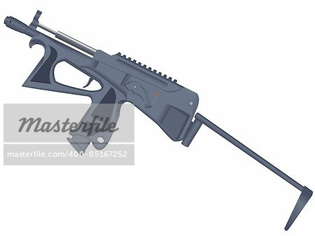 Pistol - a machine gun, the weapon on a white background isolated on a white background in a vector Stock Photo - Budget Royalty-Free, Image code: 400-05167252