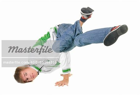 young  breakdancer posing. Isolated over white background. Stock Photo - Budget Royalty-Free, Image code: 400-05168316