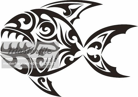 Tribal fish tattoo - vector illustration Stock Photo - Budget Royalty-Free, Image code: 400-05171383