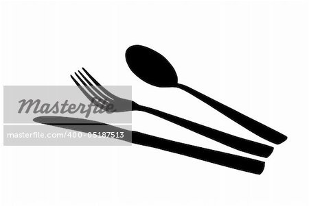 silhouettes of spoon, knife and fork Stock Photo - Budget Royalty-Free, Image code: 400-05187513