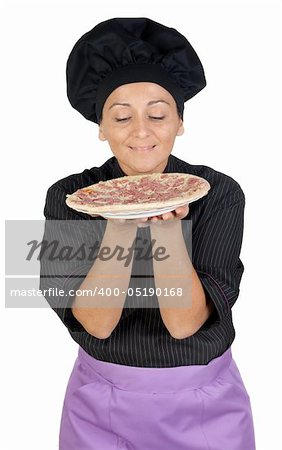 Pretty cook woman smelling ham pizza on white background Stock Photo - Budget Royalty-Free, Image code: 400-05190168