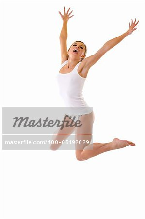 picture of a sexy woman in underwear jumping on white Stock Photo - Budget Royalty-Free, Image code: 400-05192029
