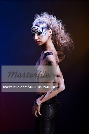 White tiger body paint Stock Photo - Budget Royalty-Free, Image code: 400-05194008