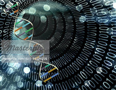 Binary tunnel and DNA Strand Stock Photo - Budget Royalty-Free, Image code: 400-05194216