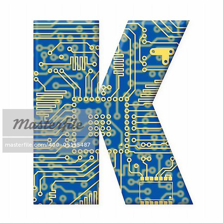 One letter from the electronic technology circuit board alphabet on a white background - K