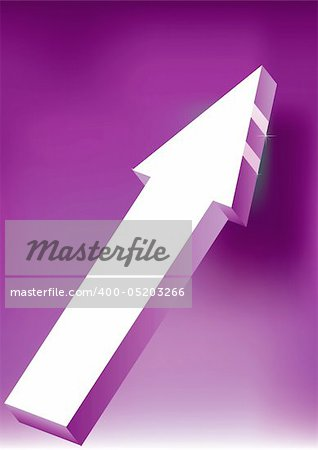 Vector Onward & Upward Arrow on purple background - 3D Glossy Icon Stock Photo - Budget Royalty-Free, Image code: 400-05203266