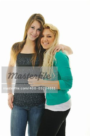 two happy young teenage girl isolated on white Stock Photo - Budget Royalty-Free, Image code: 400-05204661