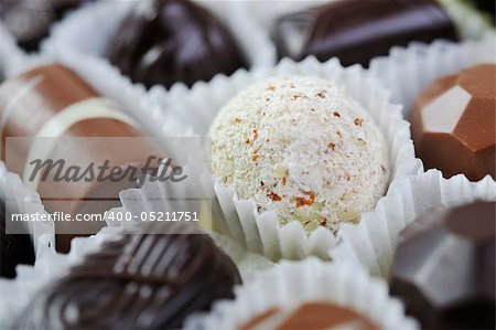 luxury and sweet praline and chocolate decoration food close up Stock Photo - Budget Royalty-Free, Image code: 400-05211751