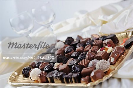 luxury and sweet praline and chocolate decoration food close up Stock Photo - Budget Royalty-Free, Image code: 400-05211803