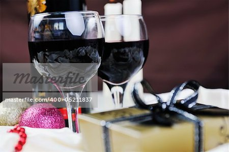 luxury and sweet praline and chocolate with wine bottle and glasses  decoration Stock Photo - Budget Royalty-Free, Image code: 400-05211837