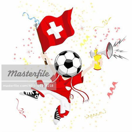 Switzerland Soccer Fan with Ball Head. Editable Vector Illustration Stock Photo - Budget Royalty-Free, Image code: 400-05219218