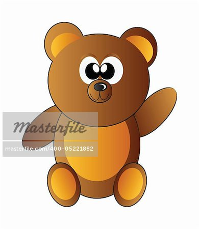 little happy teddy bear isolated on white background