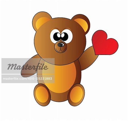 teddy bear with heart isolated on white background