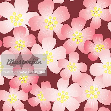 Abstract cherry-flowers background. Seamless pattern. Vector illustration. Stock Photo - Budget Royalty-Free, Image code: 400-05222044