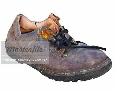 Old worn-out rotten shoe isolated on white background Stock Photo - Budget Royalty-Free, Image code: 400-05224637