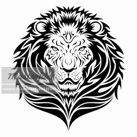 Lion head in tattoo/tribal style  This image is a vector illustration and can be scaled to any size without loss of resolution. Included are a .eps and hires jpeg file. You will need a vector editor such as Adobe Illustrator or Coreldraw to use this file.  Each object are grouped and background are on separate layer for easy editing.    All works were created in adobe illustrator. Stock Photo - Budget Royalty-Free, Image code: 400-05230243