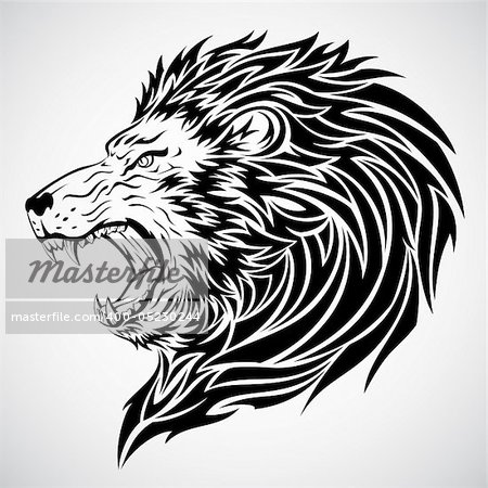 Lion head tattoo.  This image is a vector illustration and can be scaled to any size without loss of resolution. Included are a .eps and hires jpeg file. You will need a vector editor such as Adobe Illustrator or Coreldraw to use this file.  Each object are grouped and background are on separate layer for easy editing.    All works were created in adobe illustrator. Stock Photo - Budget Royalty-Free, Image code: 400-05230244