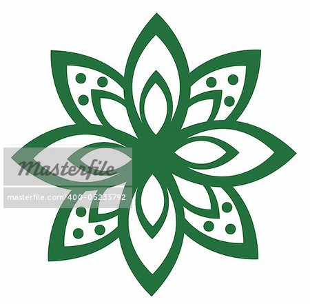illustration drawing of a beautiful green flower pattern