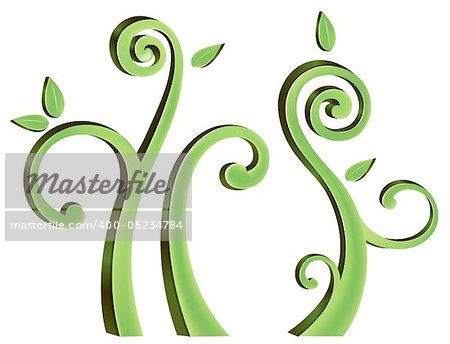 illustration drawing of beautiful green vine pattern