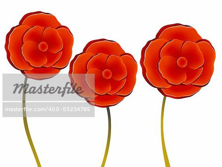 illustration drawing of three beautiful red flowers