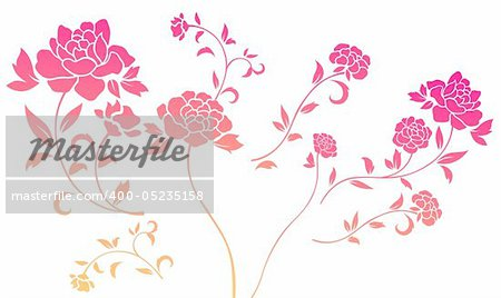 illustration drawing of many beautiful red flowers