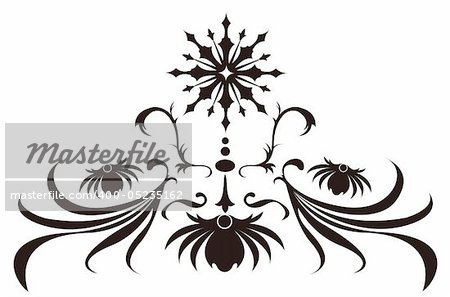illustration drawing of beautiful black flower pattern
