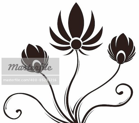 drawing of black flower pattern in a white background