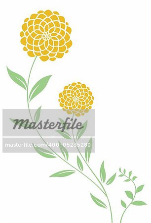illustration drawing of beautiful yellow daisy pattern and leaves