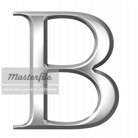 3d silver Greek letter Beta isolated in white Stock Photo - Budget Royalty-Free, Image code: 400-05235442