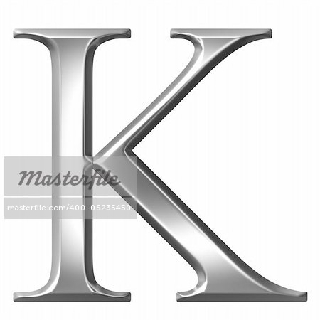 3d silver Greek letter Kappa isolated in white Stock Photo - Budget Royalty-Free, Image code: 400-05235450