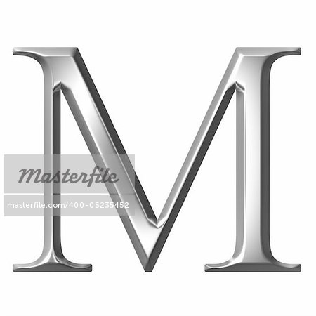 3d silver Greek letter My isolated in white Stock Photo - Budget Royalty-Free, Image code: 400-05235452