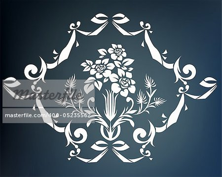illustration drawing of beautiful white flower pattern