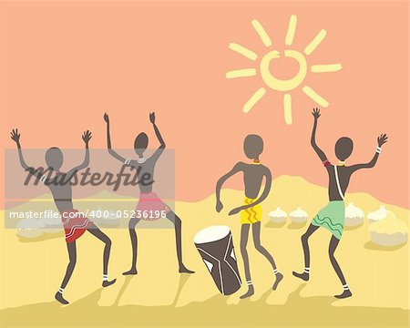 a hand drawn illustration of colorful african people dancing in a village under a bright sky Stock Photo - Budget Royalty-Free, Image code: 400-05236196