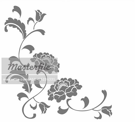 drawing of grey flower in a white background