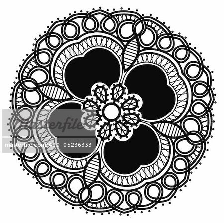 beautiful black flower pattern in a white background