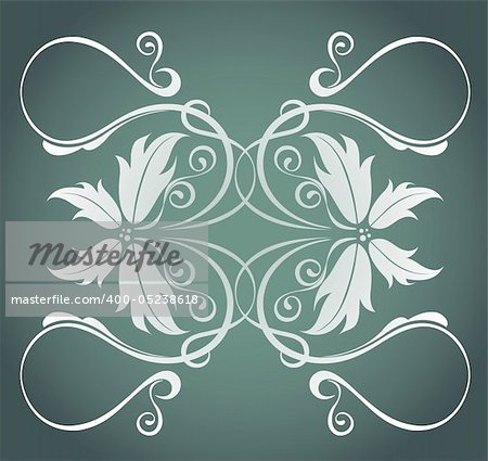 illustration drawing of beautiful white flower pattern in deep color background