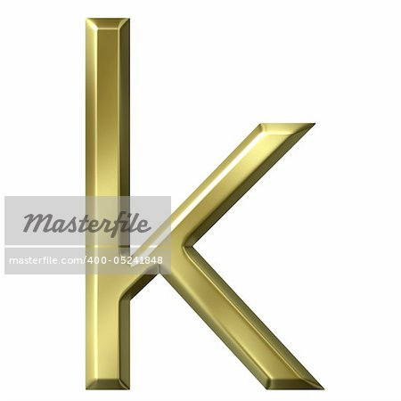 3d golden letter k isolated in white Stock Photo - Budget Royalty-Free, Image code: 400-05241848