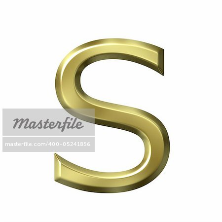 3d golden letter s isolated in white Stock Photo - Budget Royalty-Free, Image code: 400-05241856
